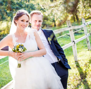 Happy young bride and groom